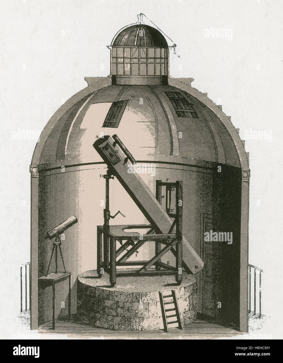 William Herschel's Telescope, 1781 - Stock Image