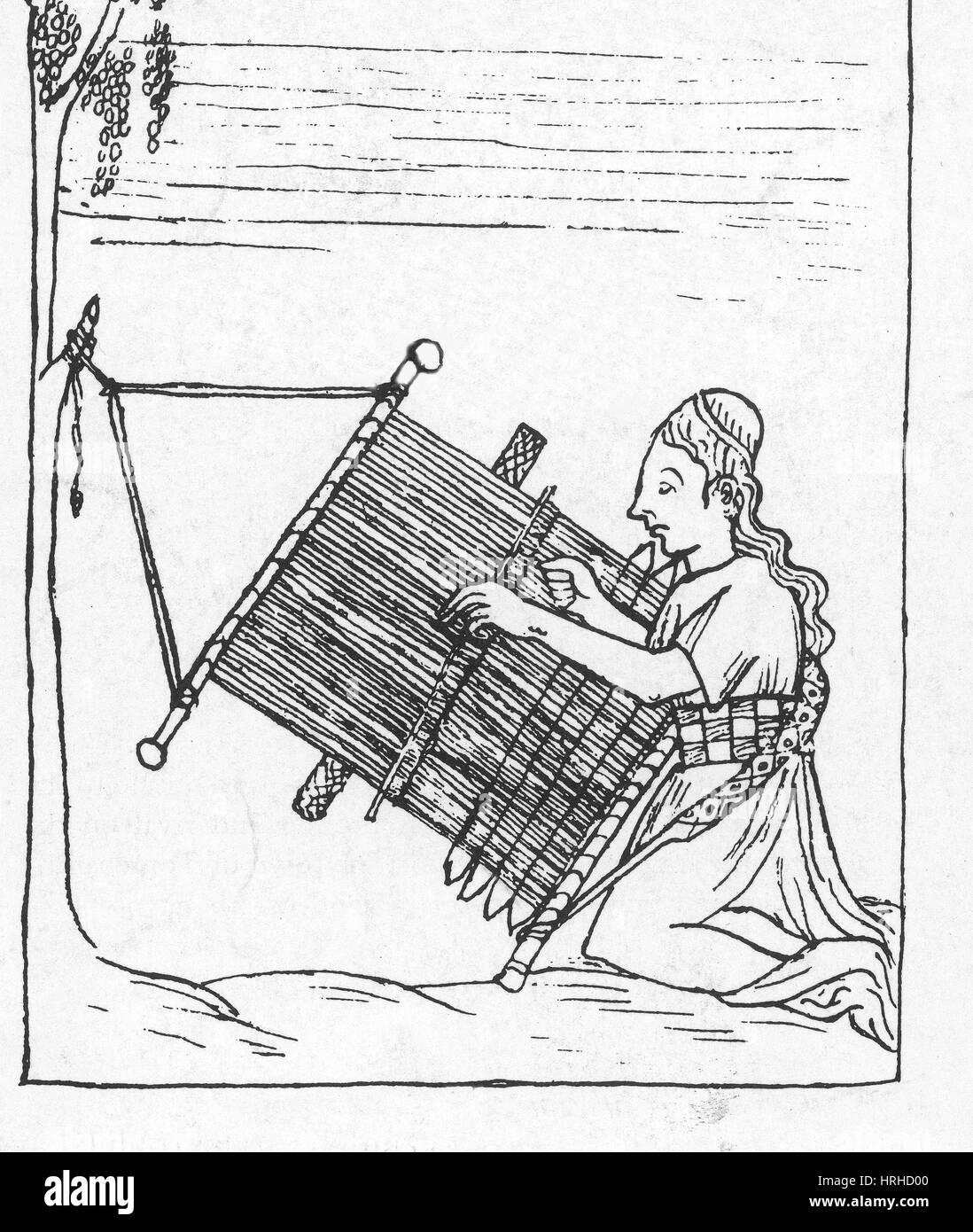Incan Woman Weaving, 17th Century Codex - Stock Image