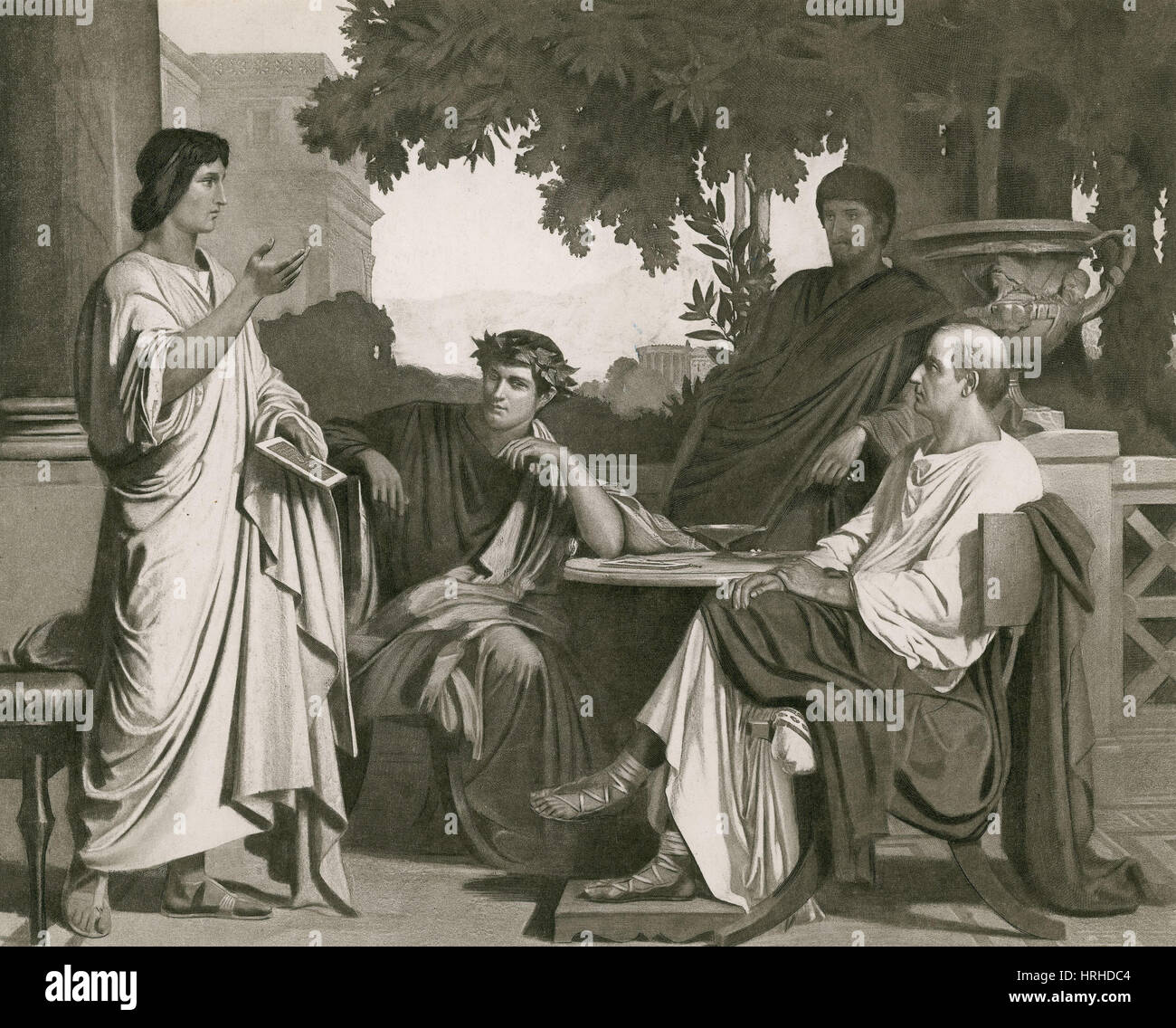 Maecenas with Virgil, Horace and Varius - Stock Image
