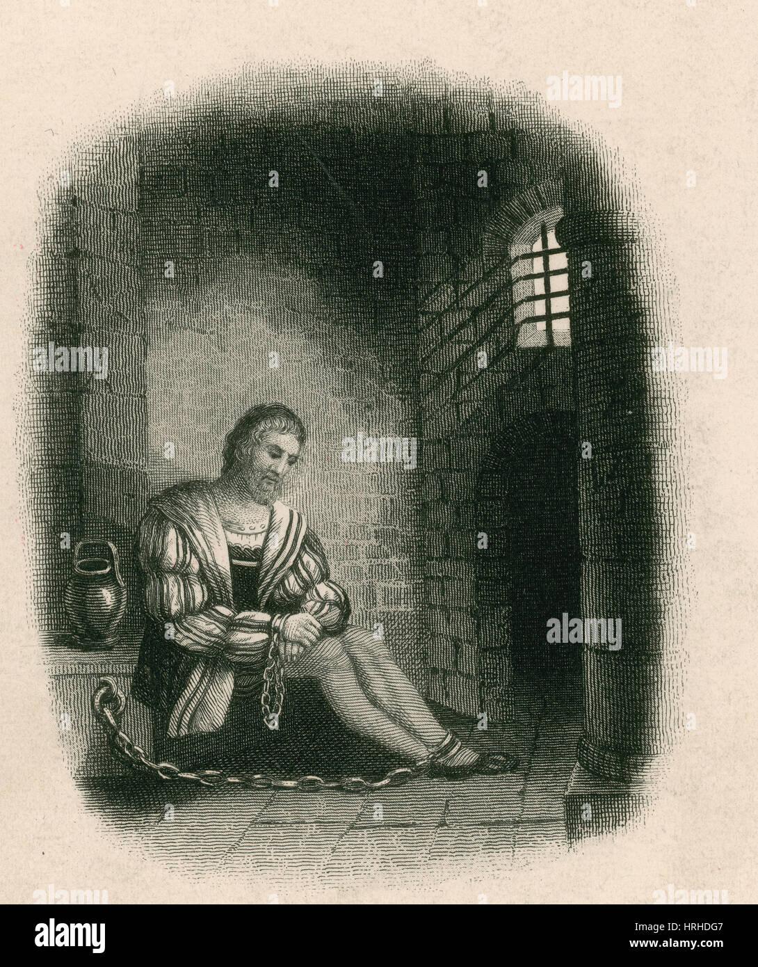 Columbus in Prison, 1500 - Stock Image