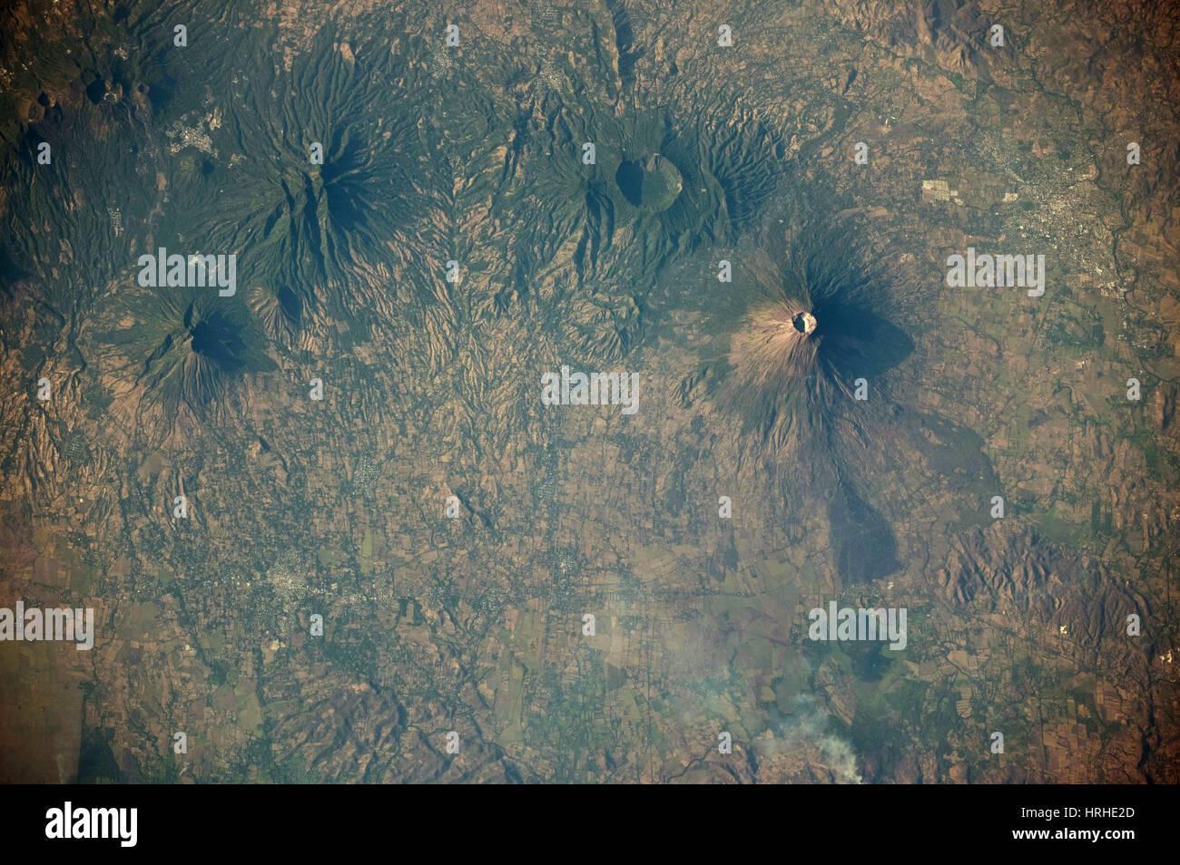 Volcanoes near Usulutan, El Salvador Stock Photo