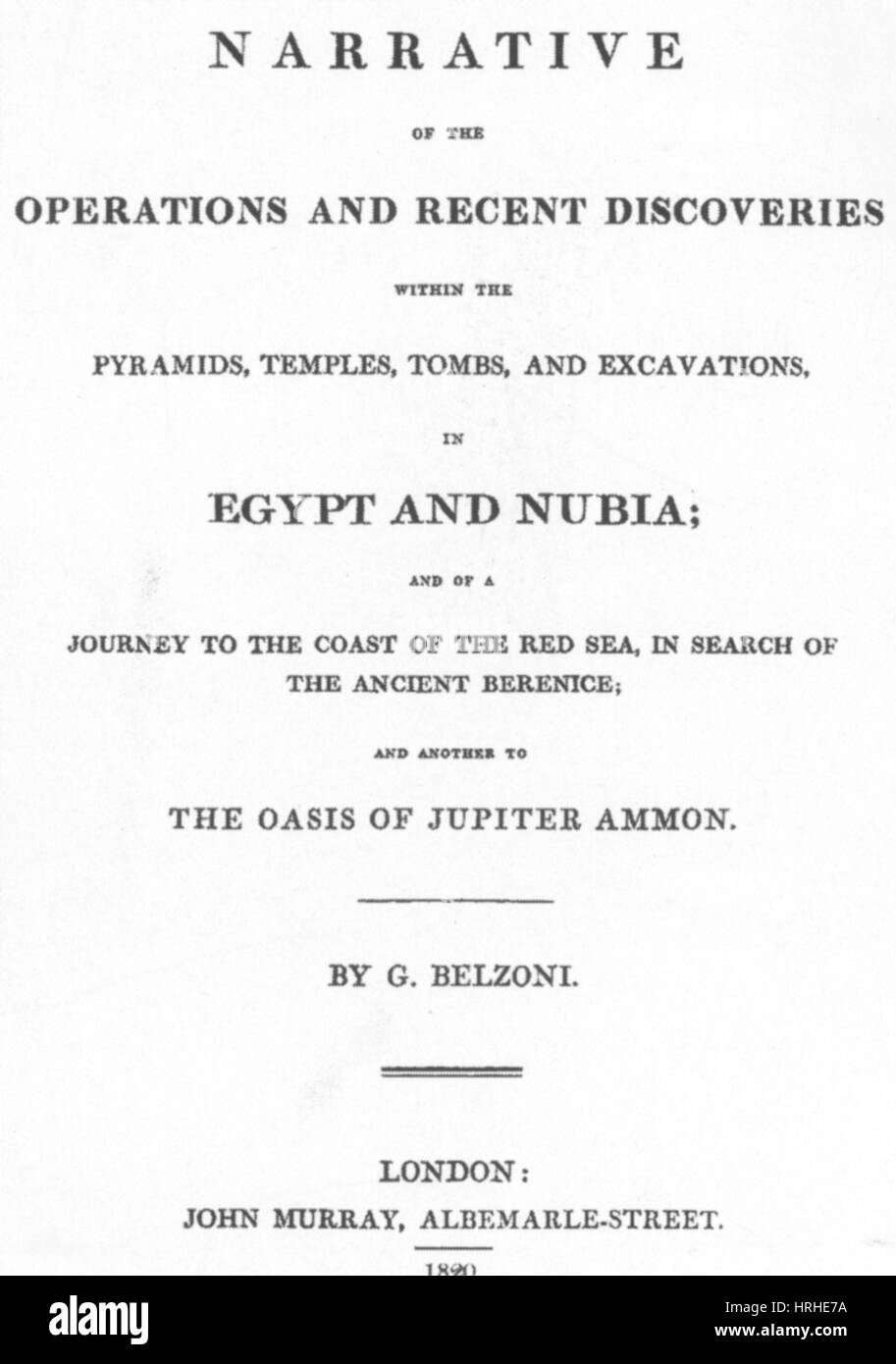 Title page of Giovanni Battista Belzoni's book - Stock Image