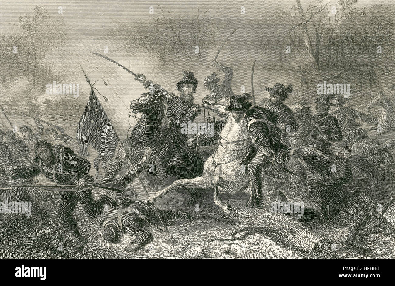 Battle of Shiloh, Charge of General Grant, 1862 - Stock Image