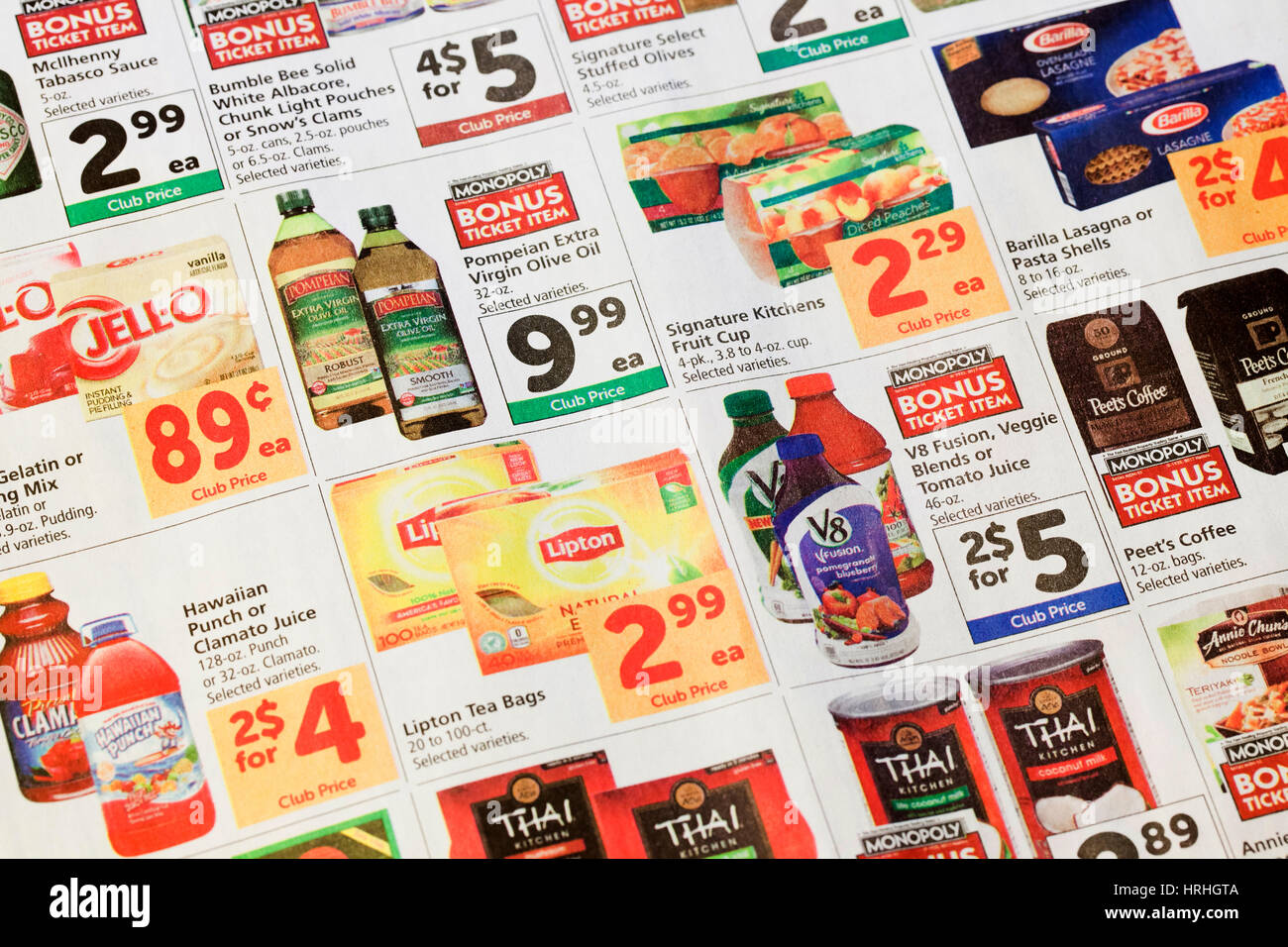 Grocery Store Mailer Coupons In Newspaper Usa Stock Photo Alamy