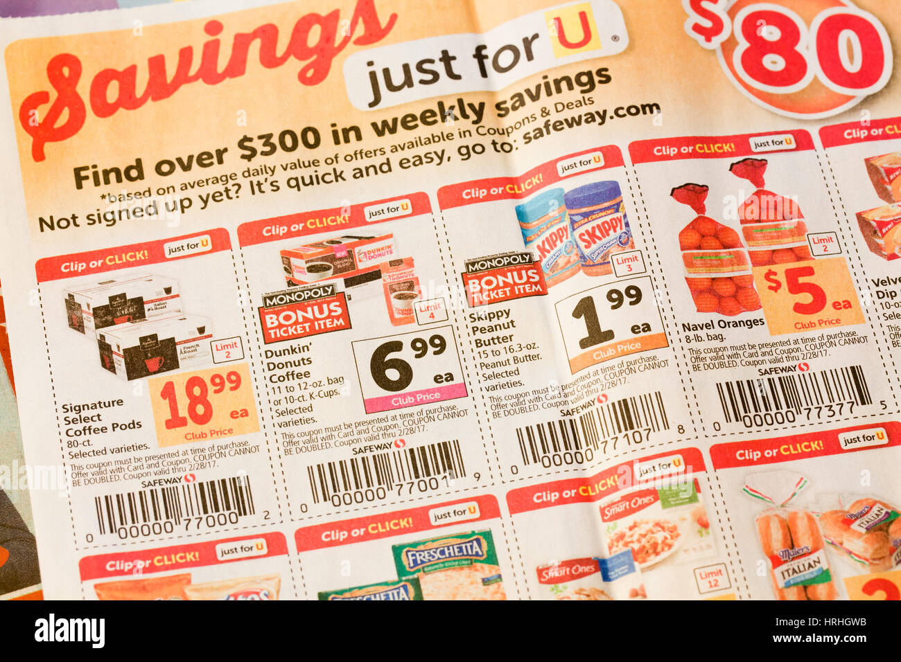 Grocery Store Mailer Coupons In Newspaper Usa Stock Photo