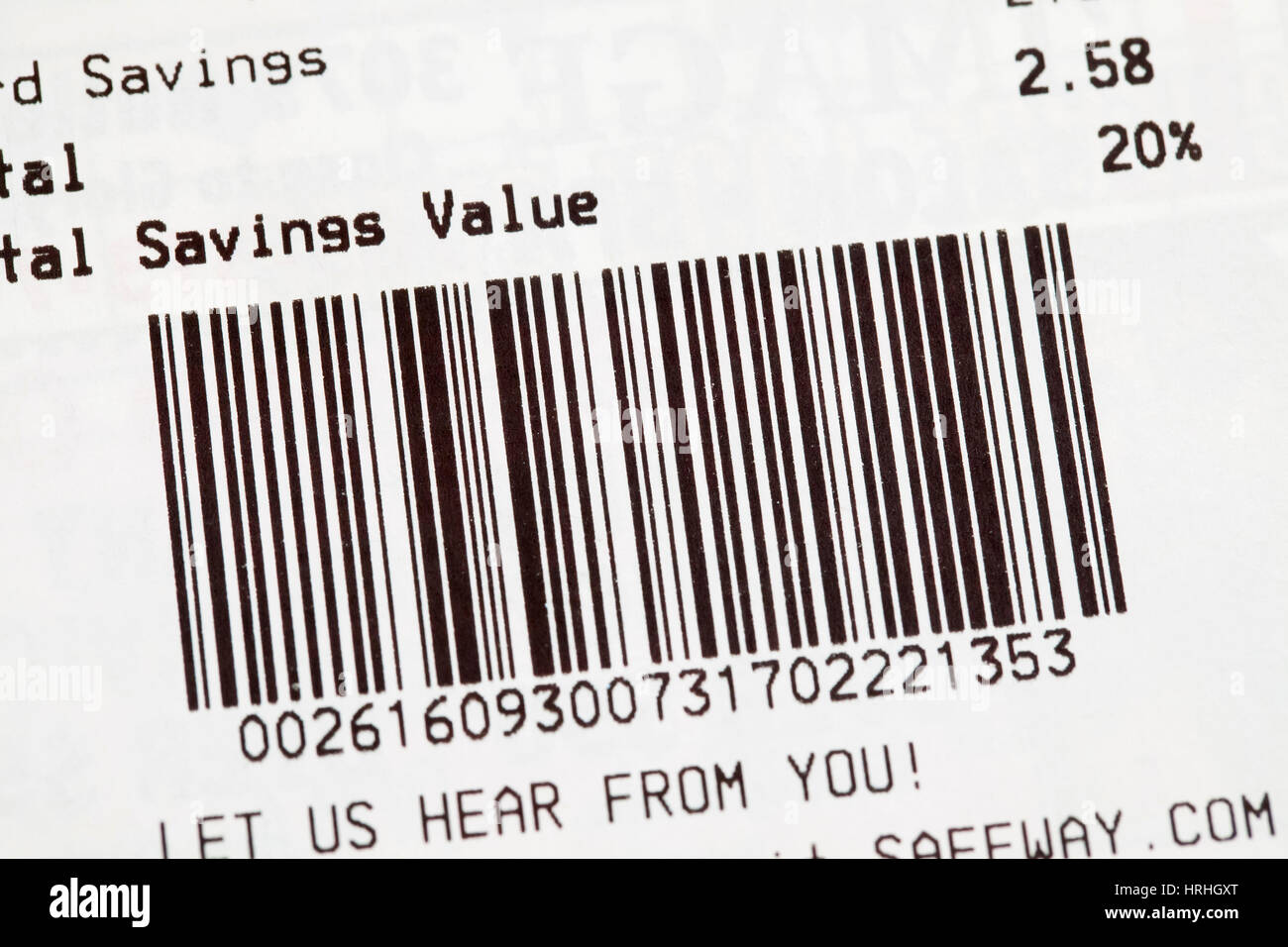 Barcode printed on grocery receipt - USA - Stock Image