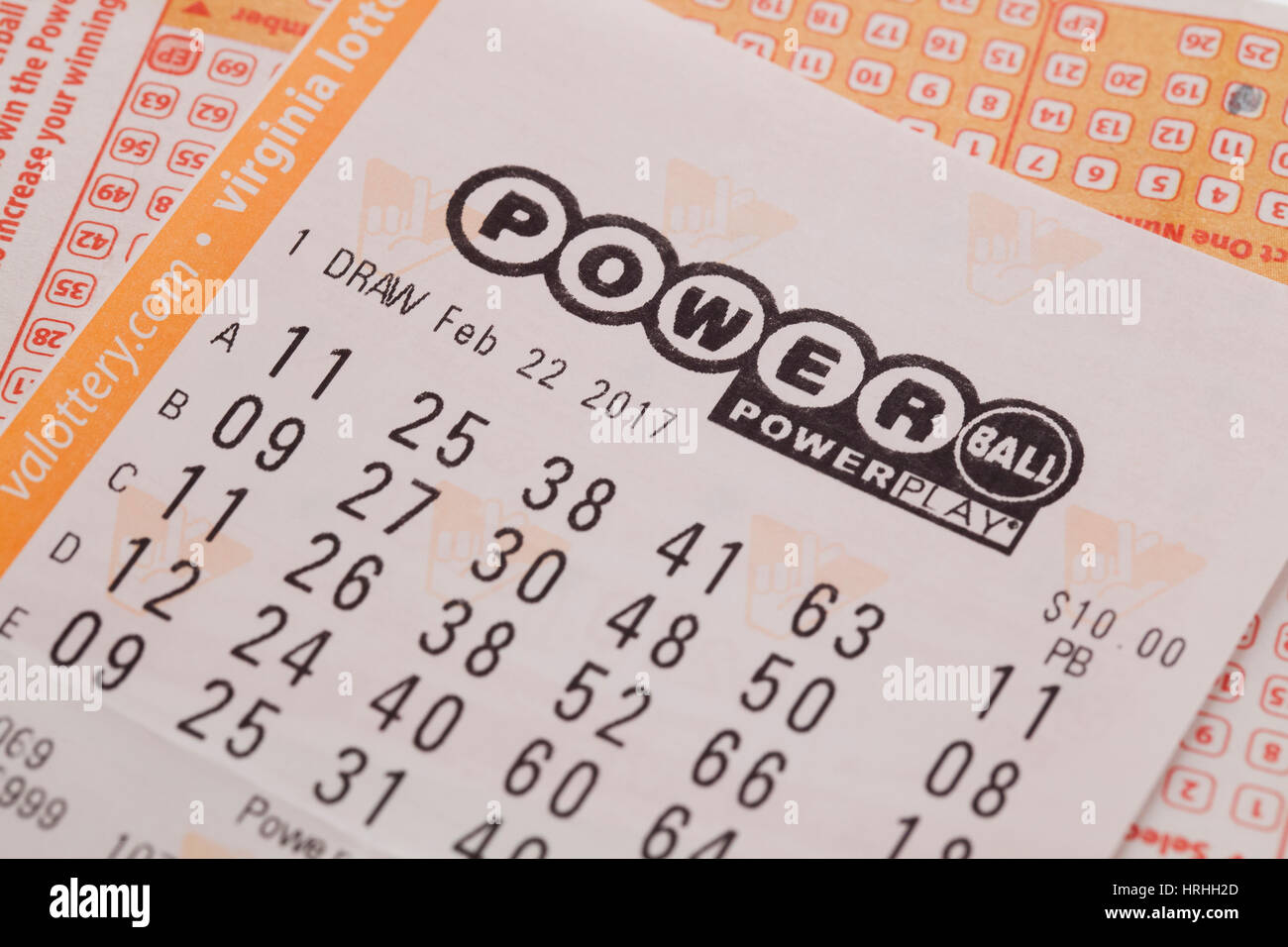Power Ball lottery ticket - USA - Stock Image
