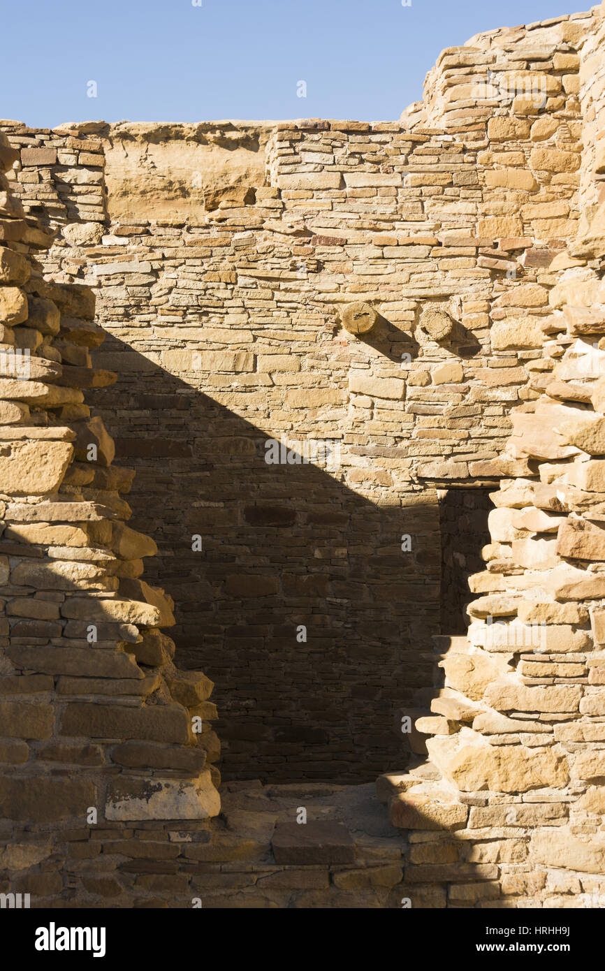 New Mexico, Chaco Culture National Historical Park, Chetro Ketl, ancestral Puebloan great house ruins, AD 990 to Stock Photo