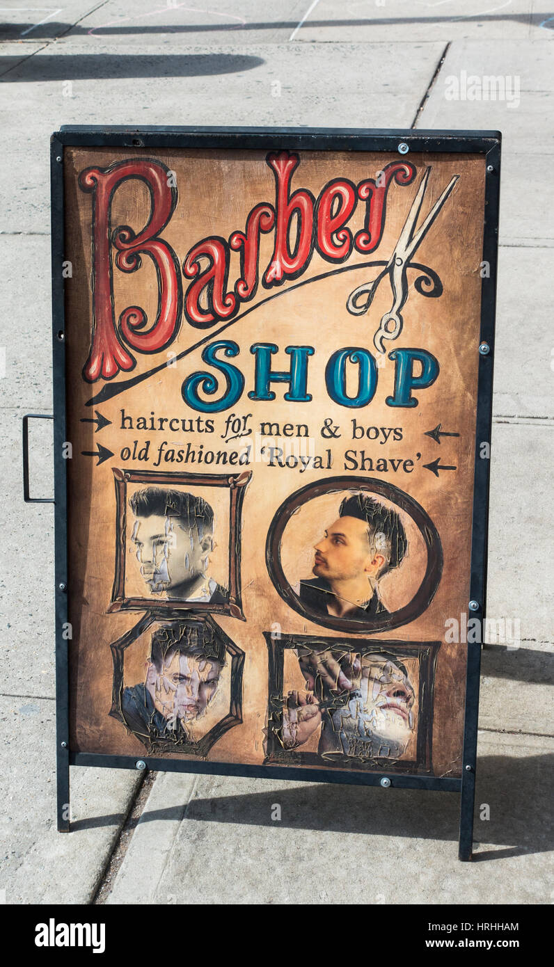 Street sign in an old time barber shop style - Stock Image