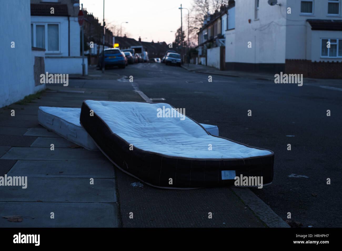 Abandoned mattresses - Stock Image