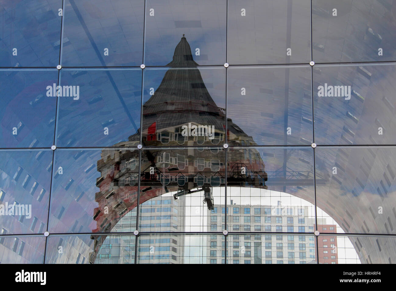 Reflection in the glass panels of the Markthal in Rotterdam, the Netherlands - Stock Image