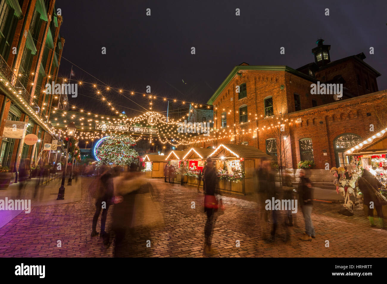 Toronto Christmas market in the Distillery district, Toronto, Ontario, Canada, North America Stock Photo