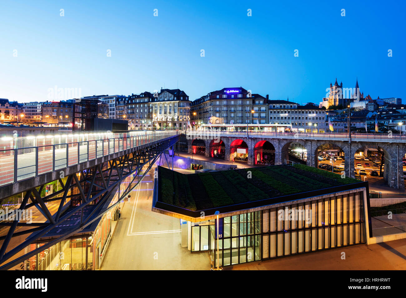 City centre viaduct, Lausanne, Vaud, Switzerland - Stock Image
