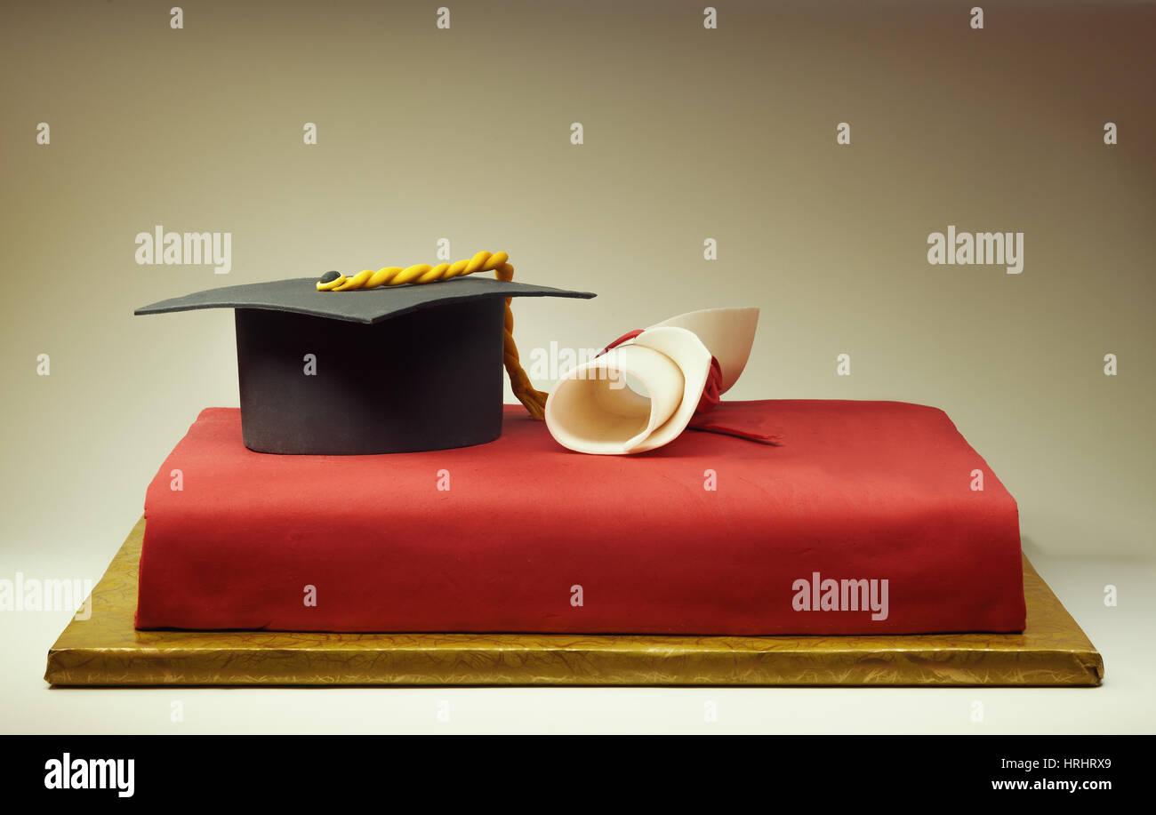 Details of cake decoration, conceptual composition about academic education. - Stock Image