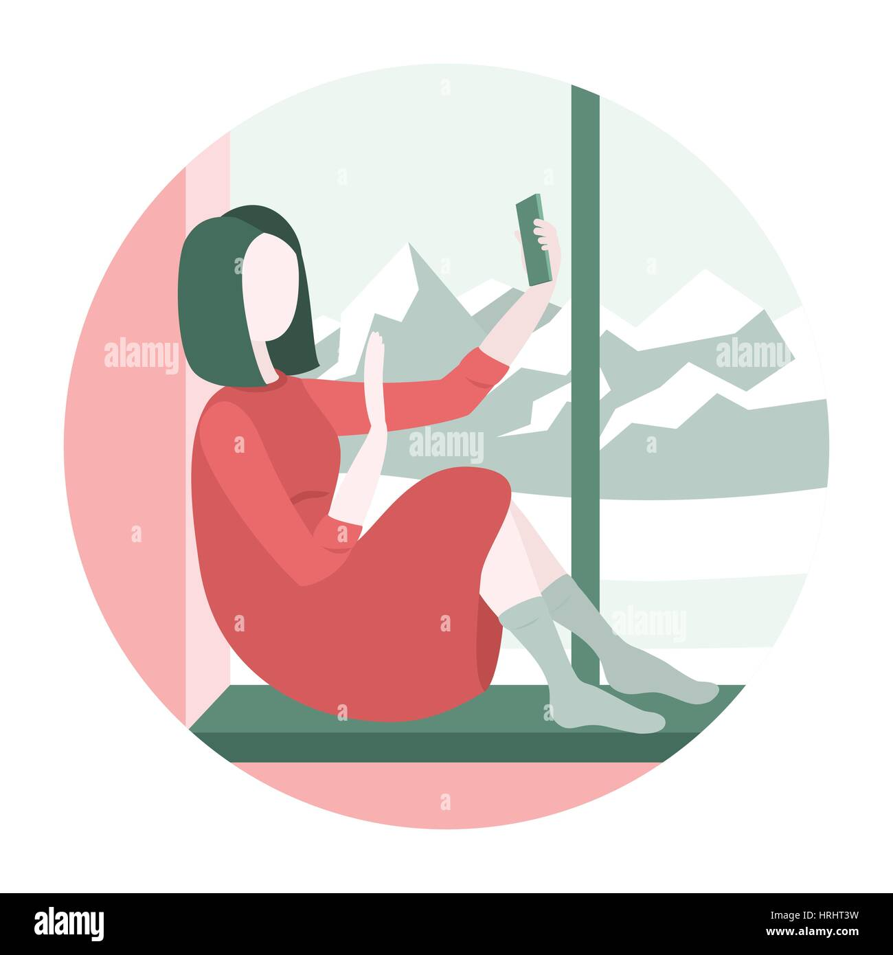 Woman sitting on a windowsill with smartphone Stock Vector