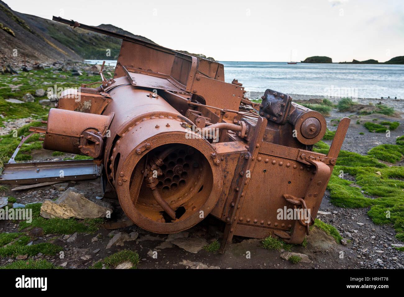 Rusty old steam train, Ocean Harbour, South Georgia, Antarctica, Polar Regions - Stock Image