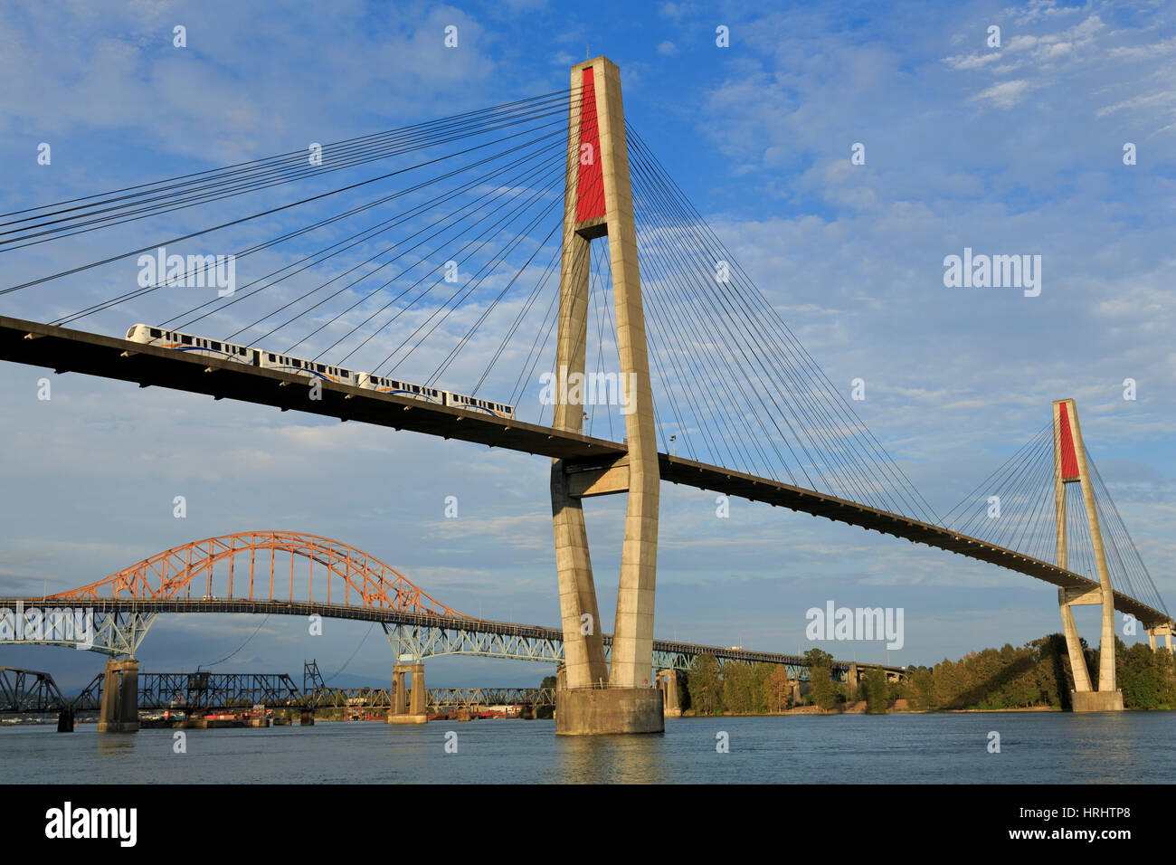 Skytrain Bridge, New Westminster, Vancouver Region, British Columbia, Canada, North America Stock Photo