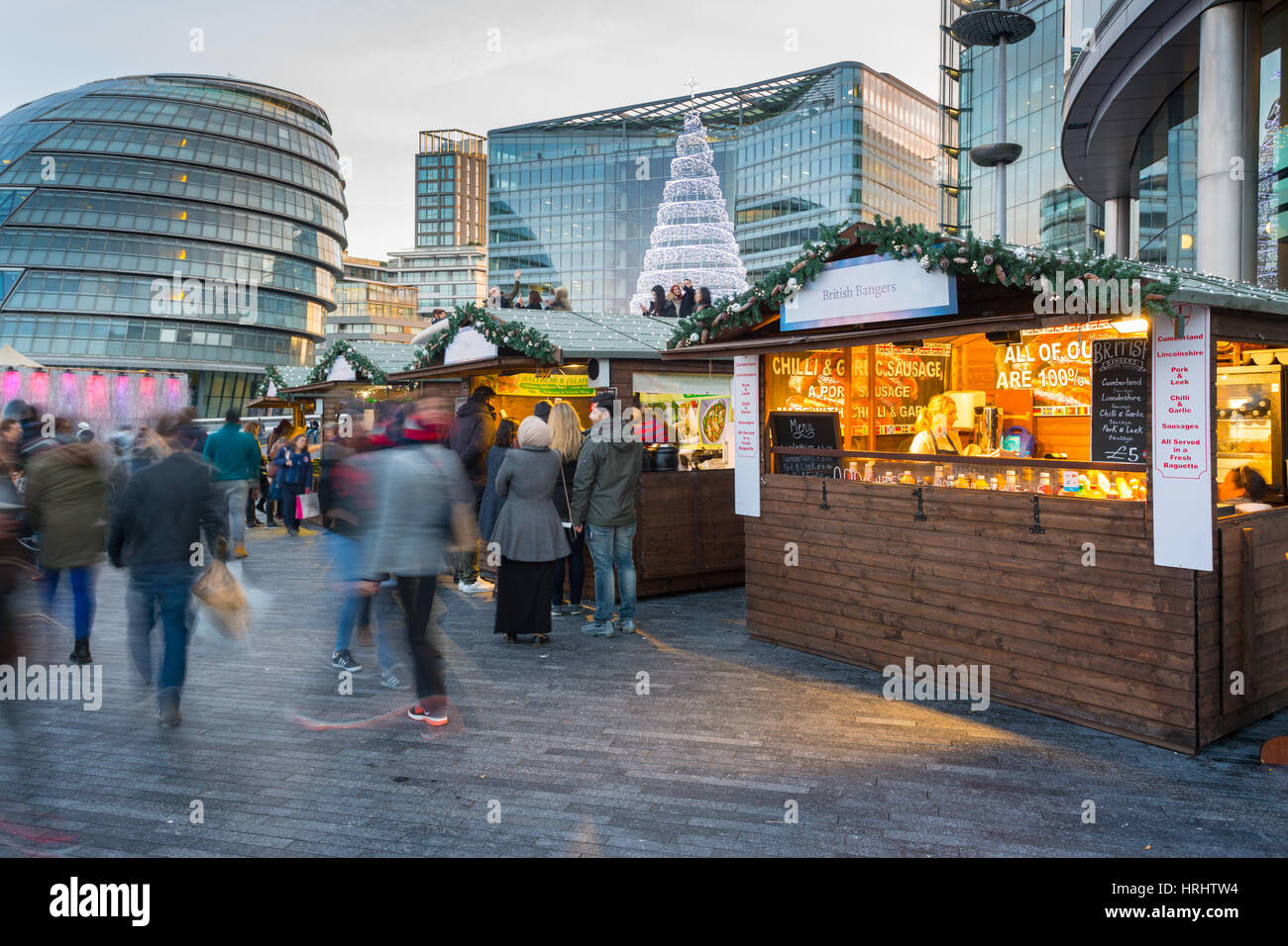 Christmas Market, The Scoop and City Hall, South Bank, London, England, United Kingdom - Stock Image