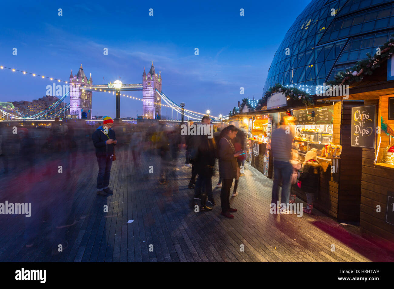 Christmas Market, The Scoop and Tower Bridge, South Bank, London, England, United Kingdom - Stock Image