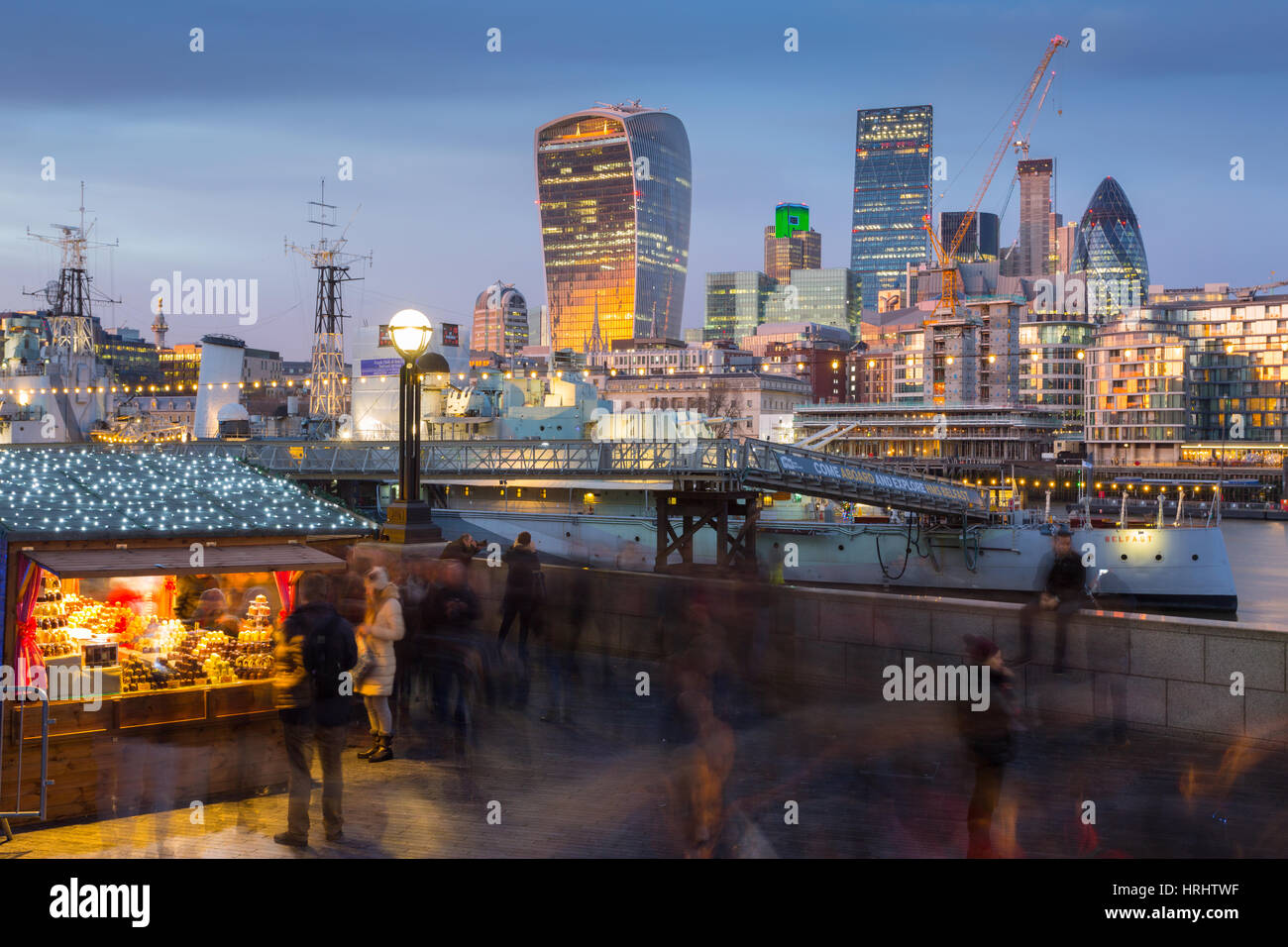 Christmas Market, The Scoop and The City of London skyline, South Bank, London, England, United Kingdom - Stock Image