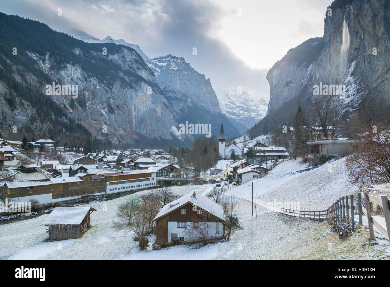 Church at Lauterbrunnen, Jungfrau region, Bernese Oberland, Swiss Alps, Switzerland Stock Photo