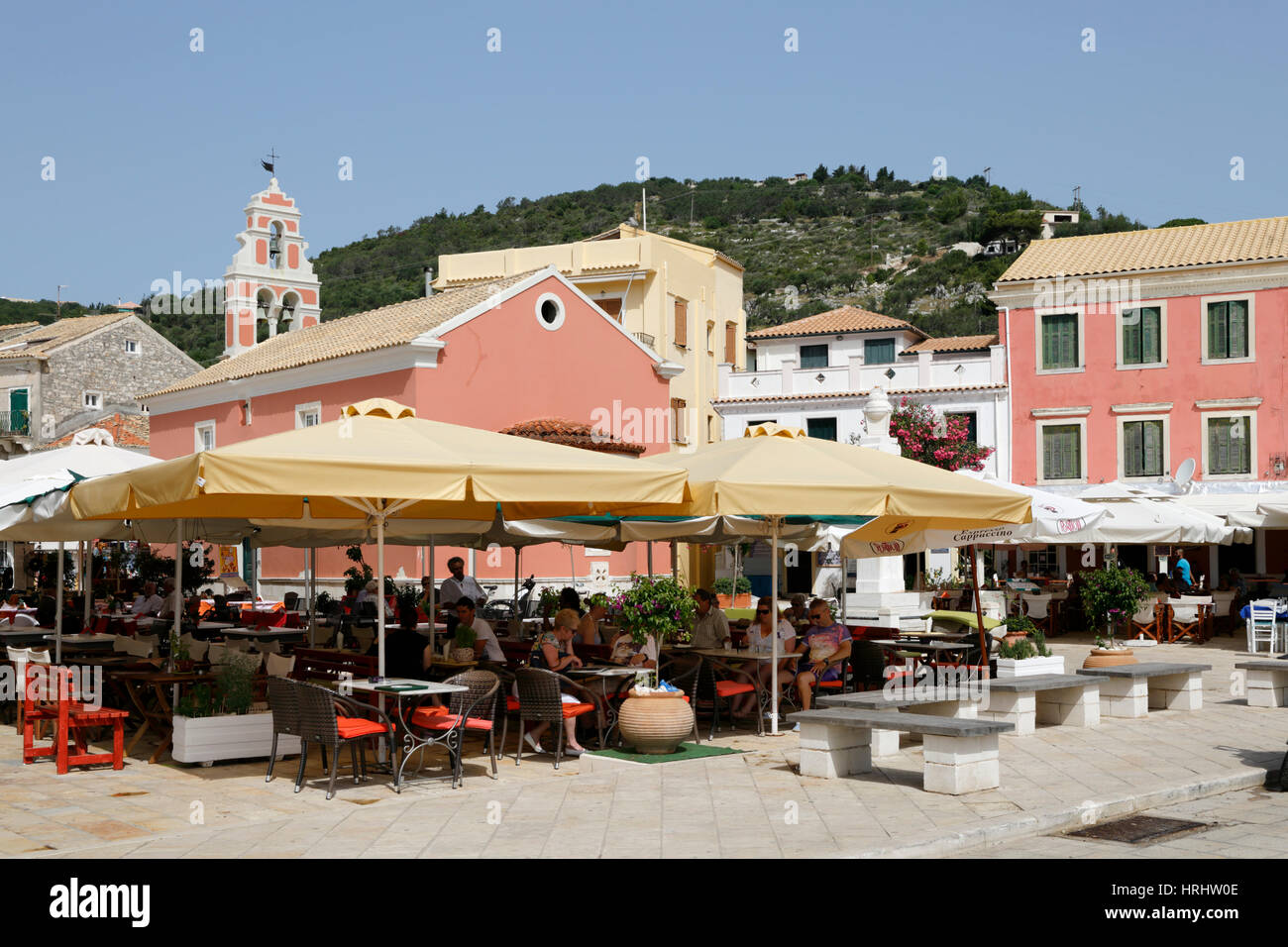 Cafes and restaurants in main square of Gaios town, Paxos, Ionian Islands, Greek Islands, Greece Stock Photo