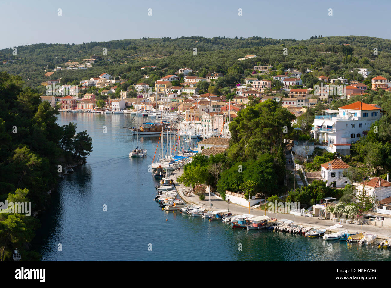 Harbour of Gaios town, Paxos, Ionian Islands, Greek Islands, Greece - Stock Image