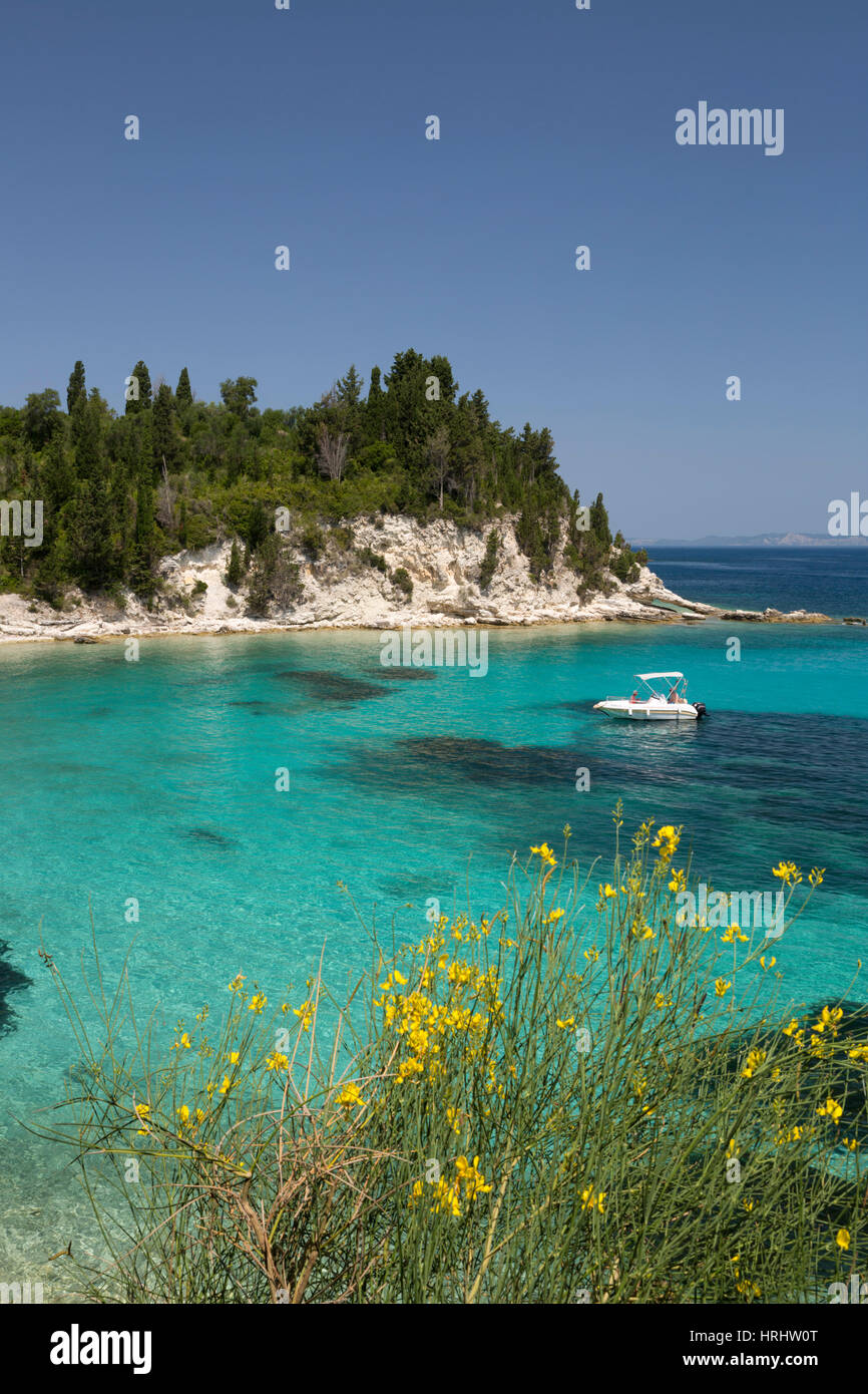 Marmaria beach on east coast, Paxos, Ionian Islands, Greek Islands, Greece - Stock Image