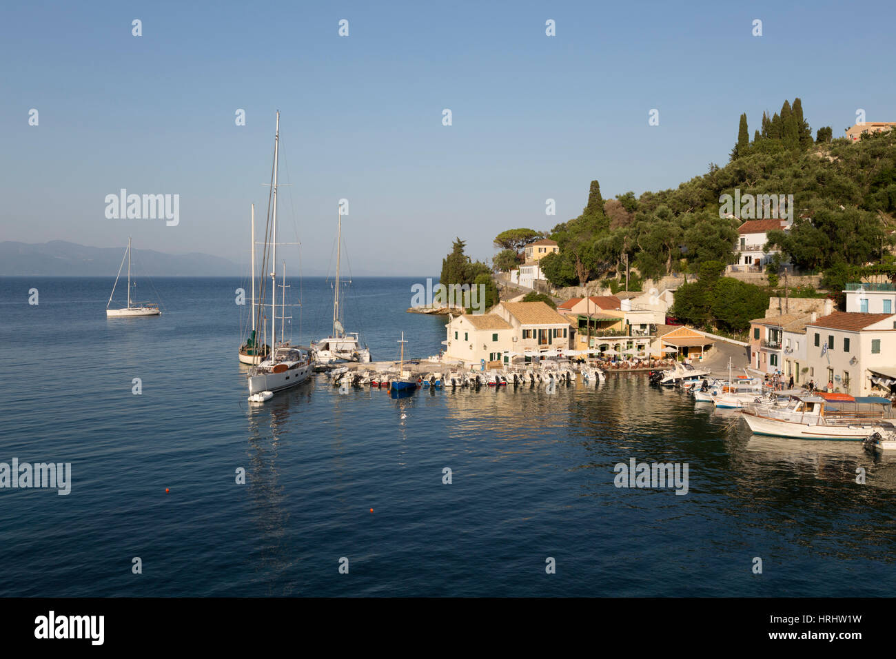 View over harbour, Loggos, Paxos, Ionian Islands, Greek Islands, Greece - Stock Image