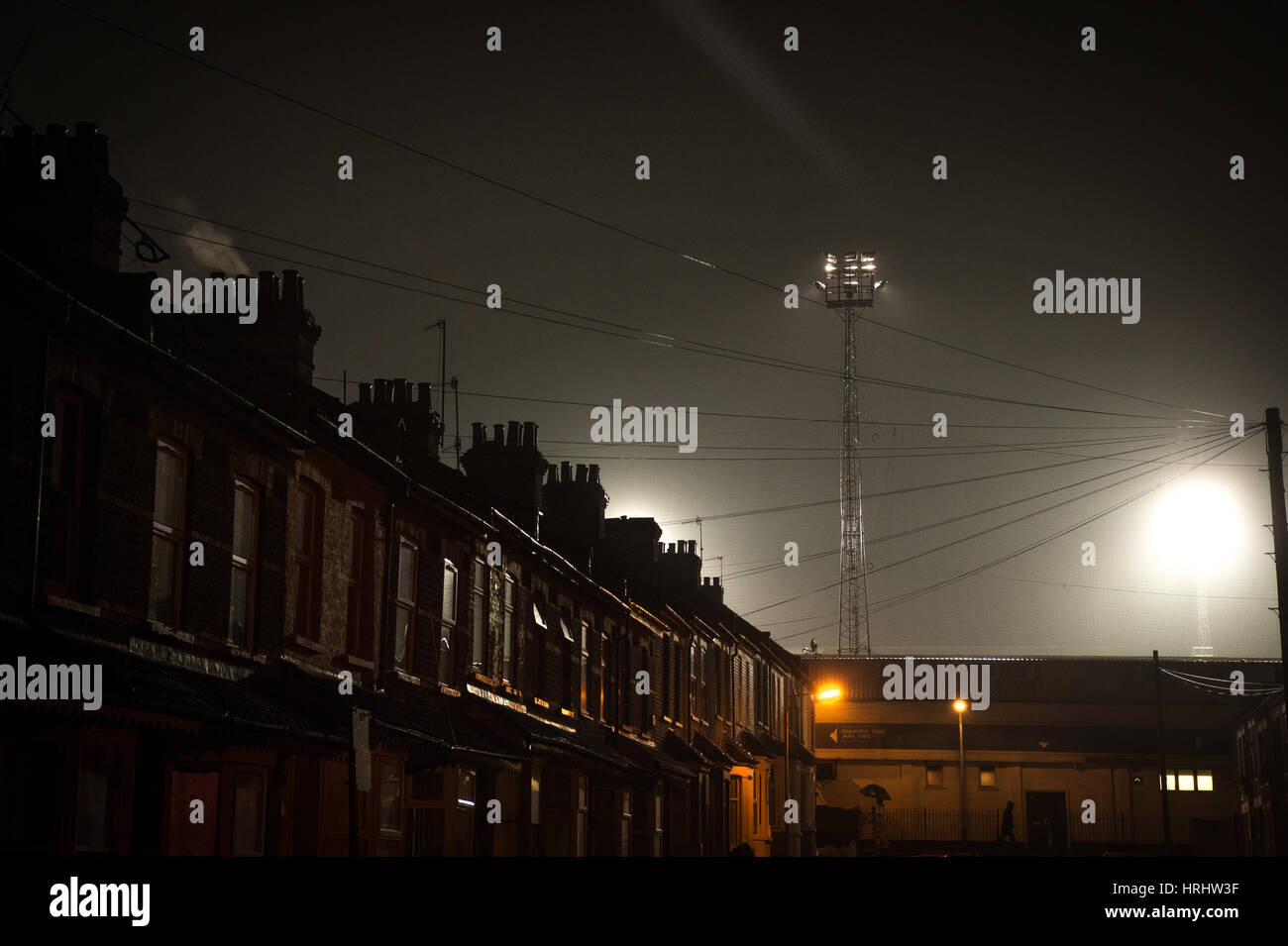 Kenilworth Road Stadium floodlights ahead of the Checkatrade Trophy Semi-final between Luton Town and Oxford United - Stock Image
