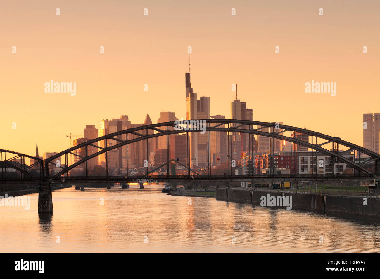 View over Main River to the financial district, skyline of Frankfurt, Hesse, Germany - Stock Image