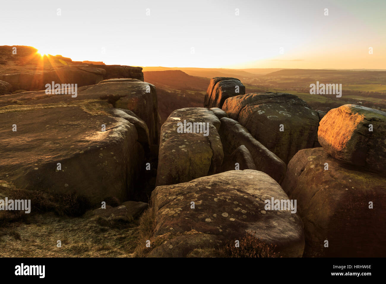 Curbar Edge, at sunrise on a frosty winter morning, Peak District National Park, Derbyshire, England, United Kingdom - Stock Image