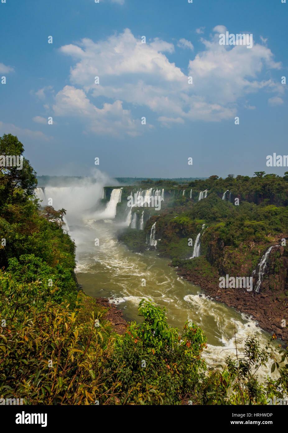 View of the Devil's Throat, part of the Iguazu Falls, UNESCO, Foz do Iguacu, State of Parana, Brazil - Stock Image