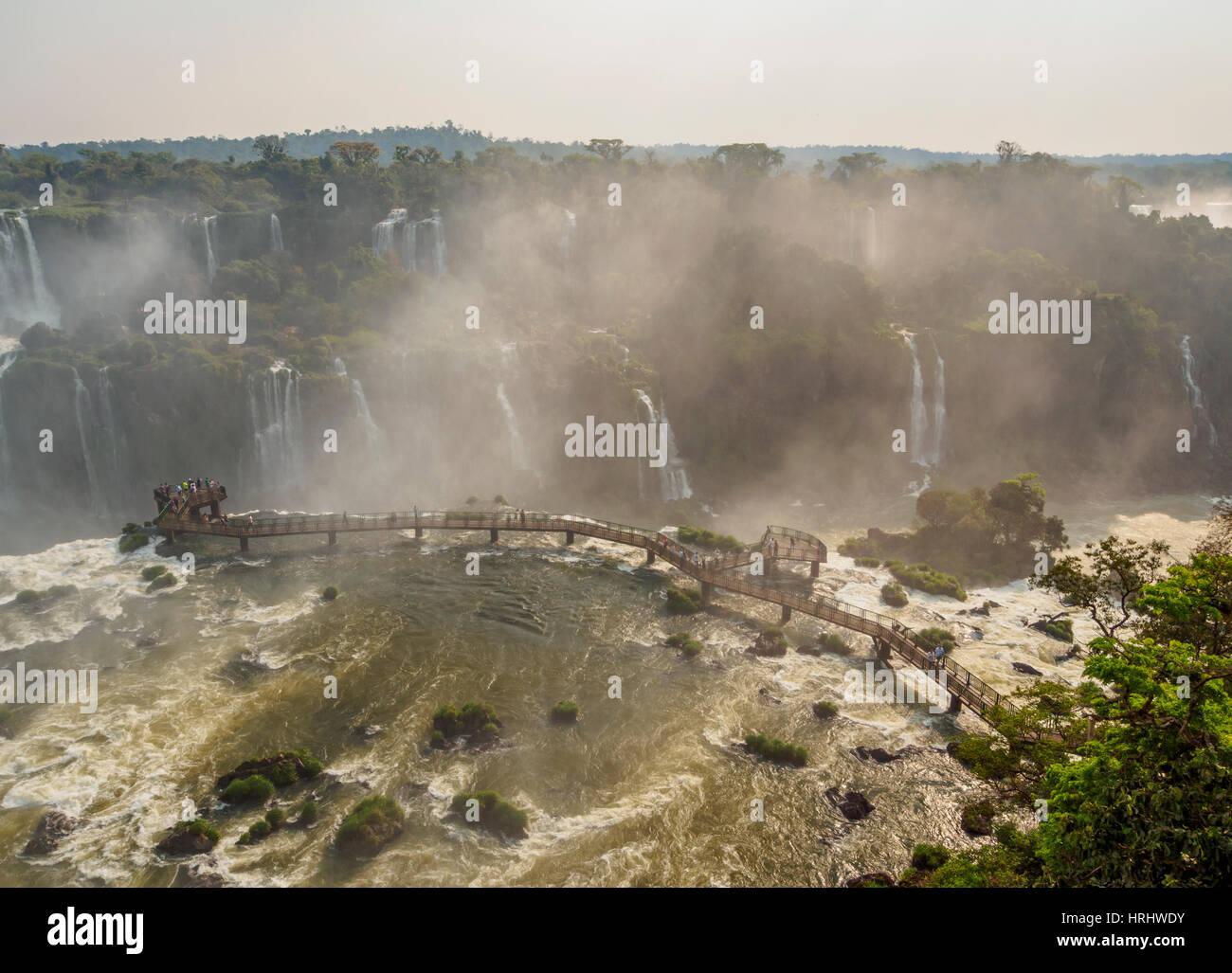 View of the Devil's Throat, part of Iguazu Falls, UNESCO, Foz do Iguacu, State of Parana, Brazil - Stock Image