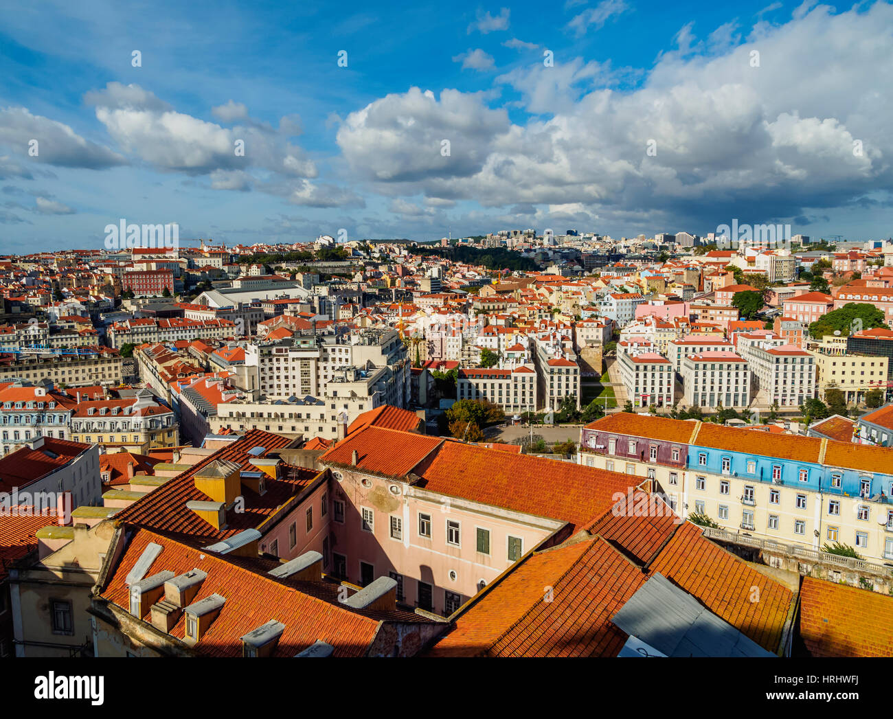 Cityscape viewed from the Sao Jorge Castle, Lisbon, Portugal - Stock Image