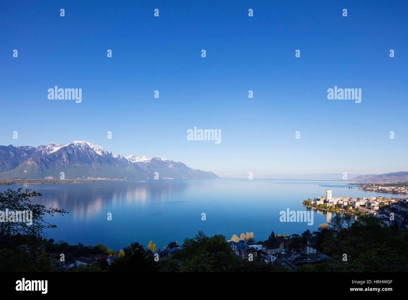 Lake Geneva (Lac Leman), Montreux, Vaud, Switzerland - Stock Image