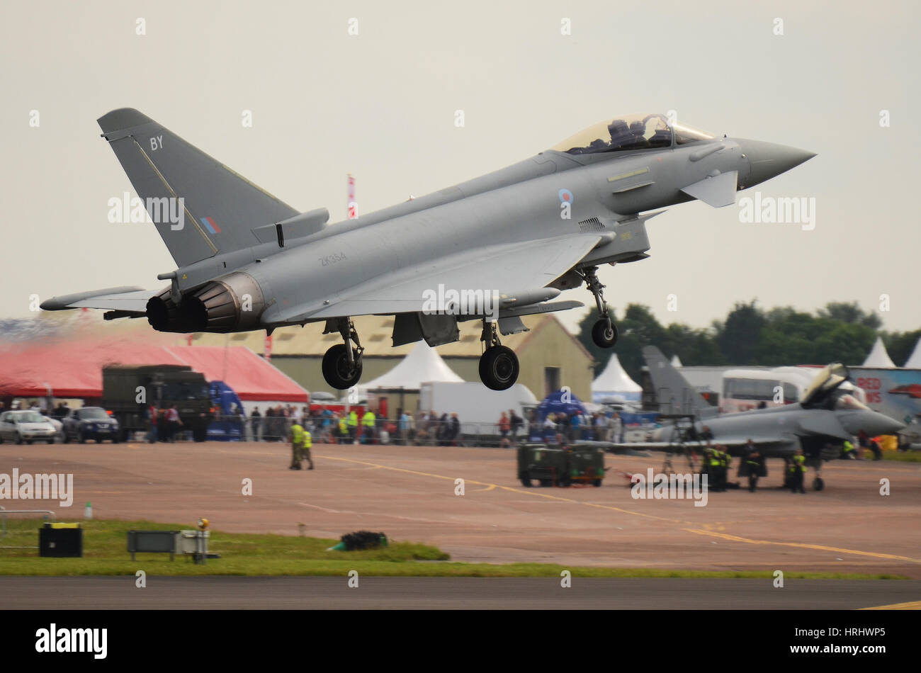 RAF Typhoon FGR4 landing at the Royal International Air Tattoo, Fairford. Space for copy - Stock Image