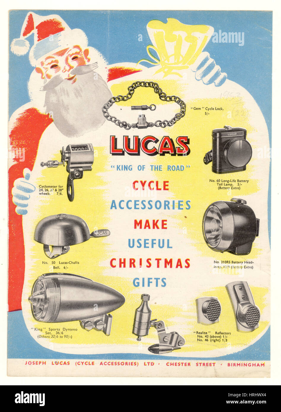 Christmas gift advertisement leaflet for Lucas cycle accessories 1950's, U.K. - Stock Image