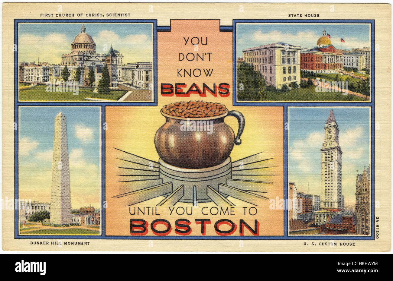 Boston -  10 07 You Don't Know Beans Until You Come to Boston [front] - Stock Image