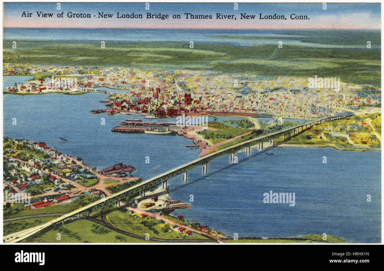 Connecticut -  Air view of Groton - New London Bridge on Thames River, New London, Conn. - Stock Image