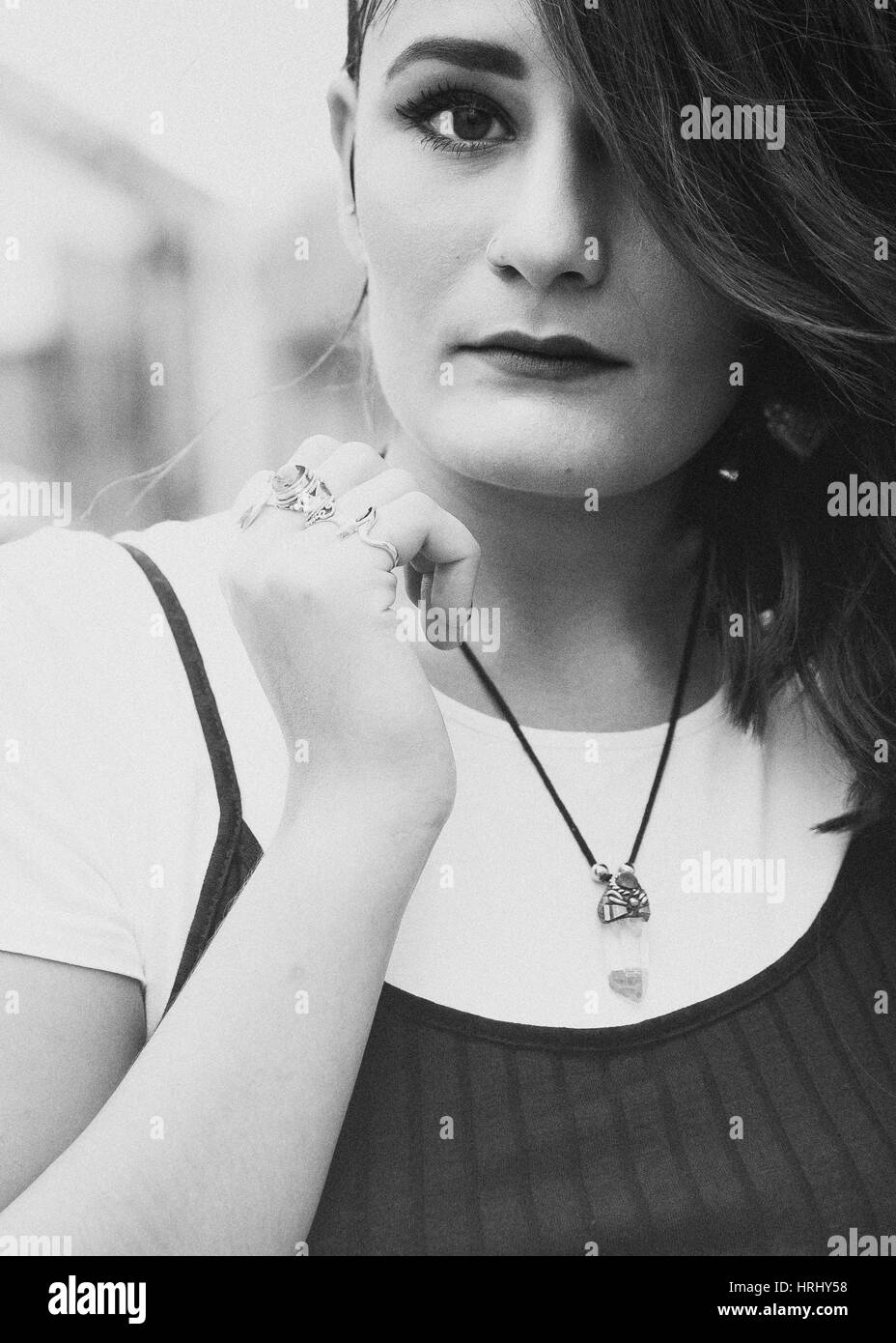 Black and white portrait of a young woman Stock Photo