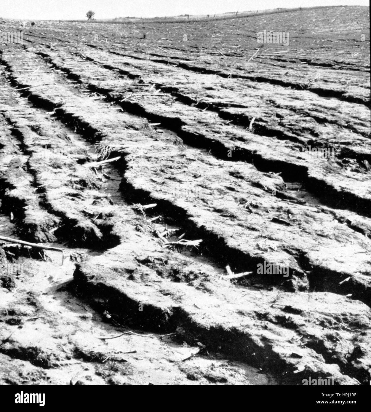 Manhandled Land, Dust Bowl, 1938 - Stock Image