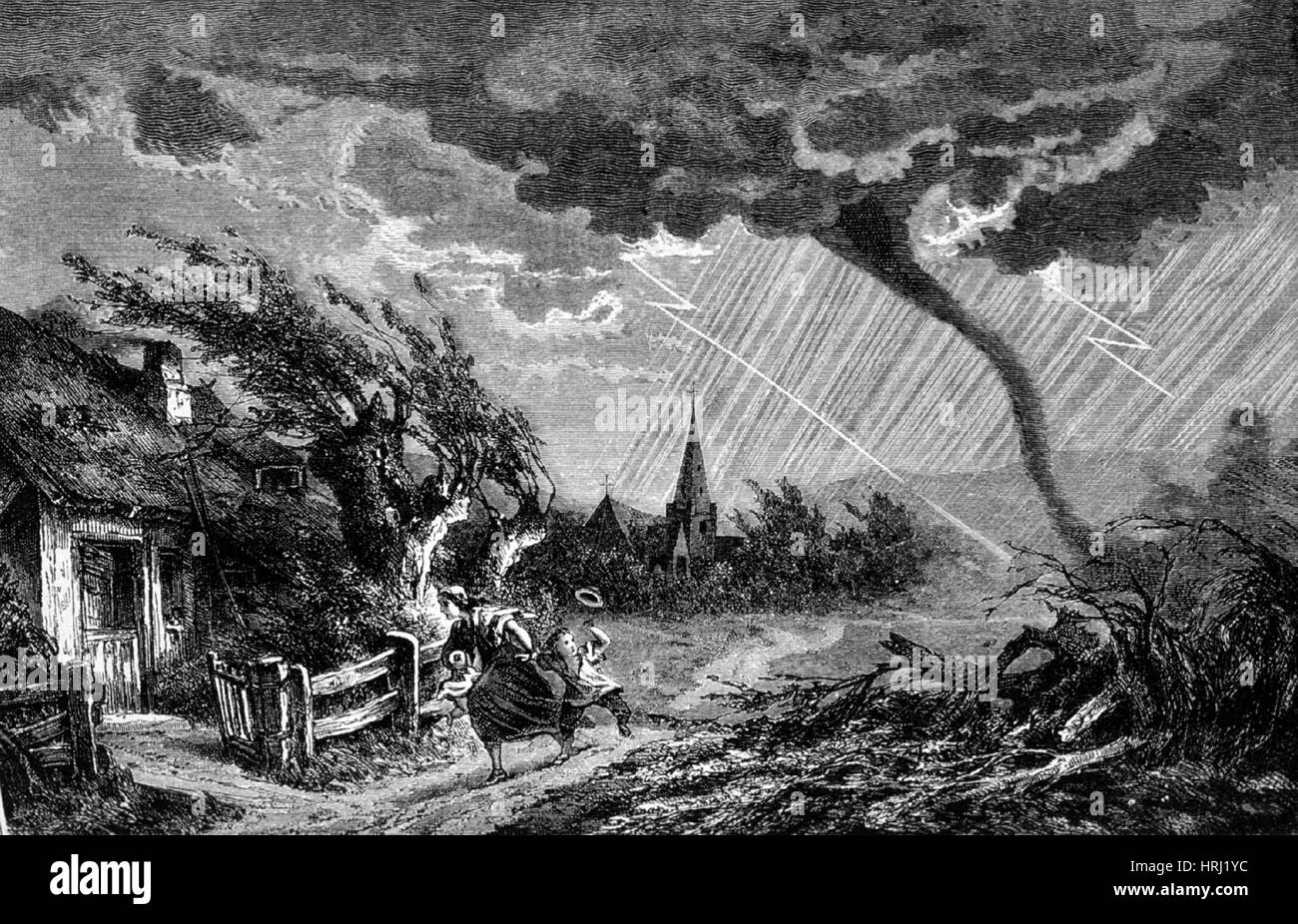 Tornado, Scattering Terror and Desolation, 1873 - Stock Image