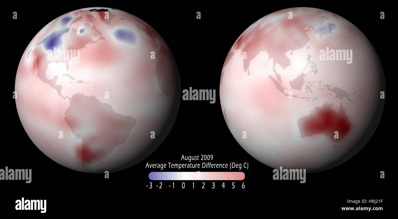 Global Temperature Anomaly, 2009 - Stock Image