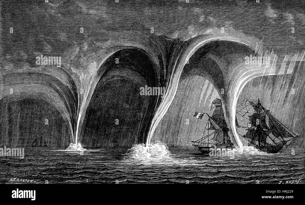 Waterspouts, 1869 - Stock Image