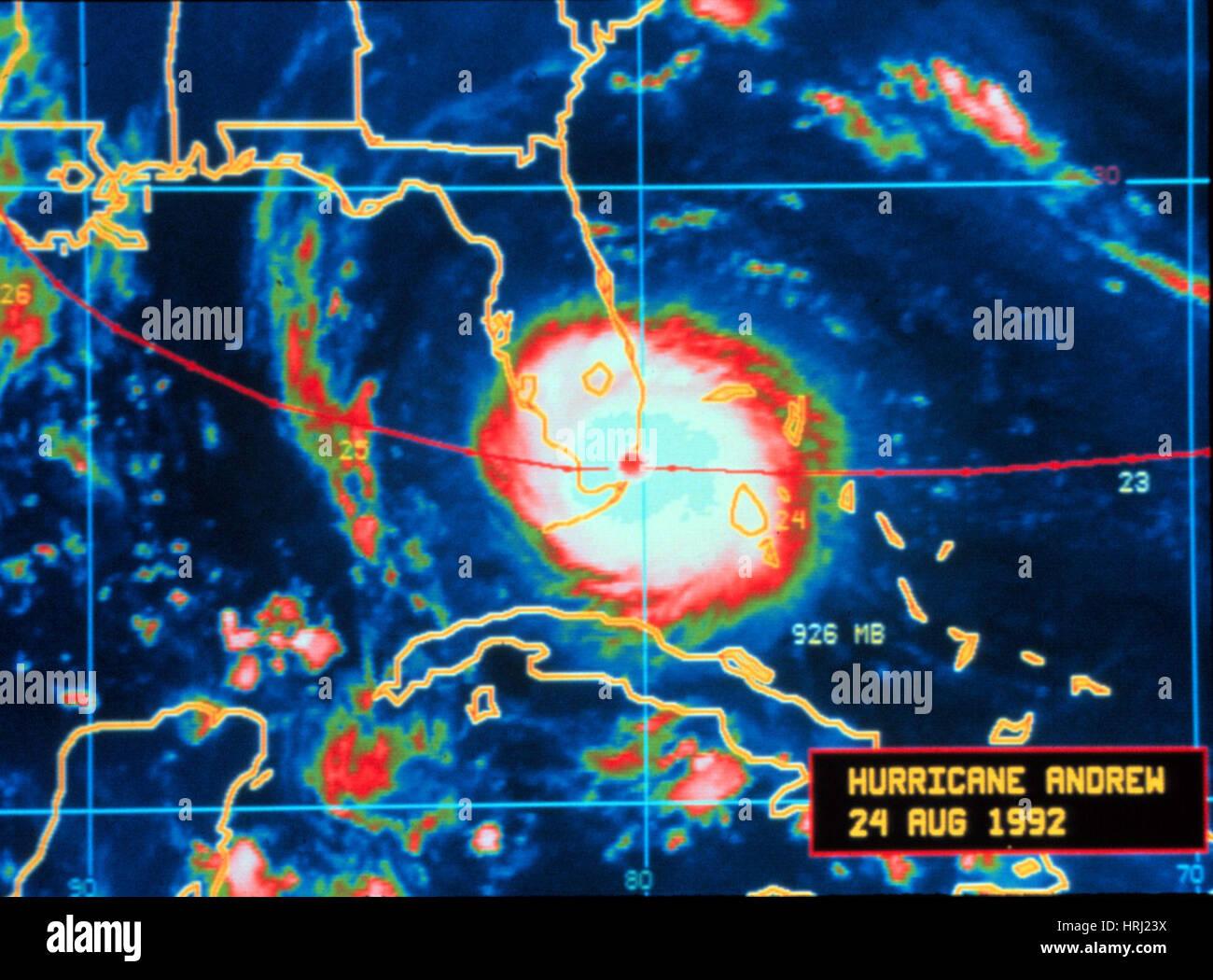 Hurricane Andrew, Infrared Image, 1992 - Stock Image