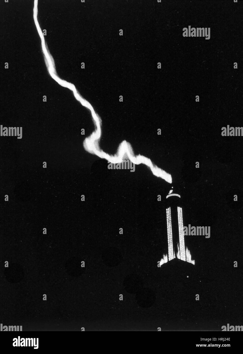 Lightning Strikes Empire State Building, 1934 - Stock Image