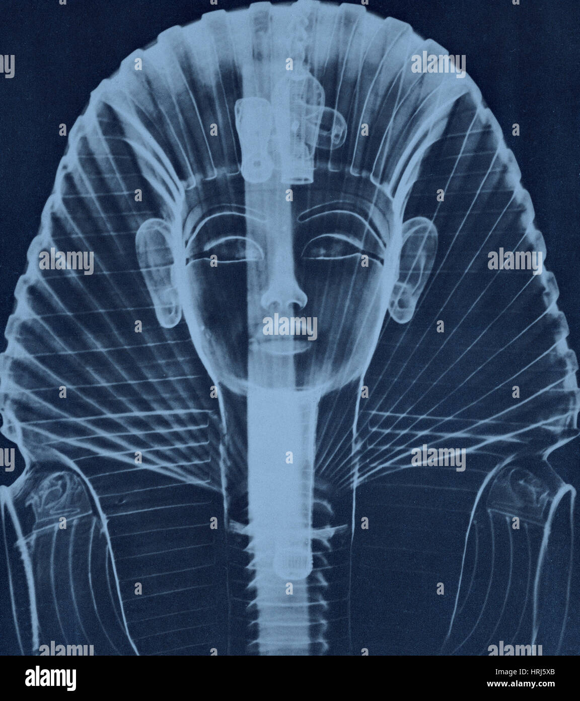 X-ray of the Egyptian Mask of Tut - Stock Image
