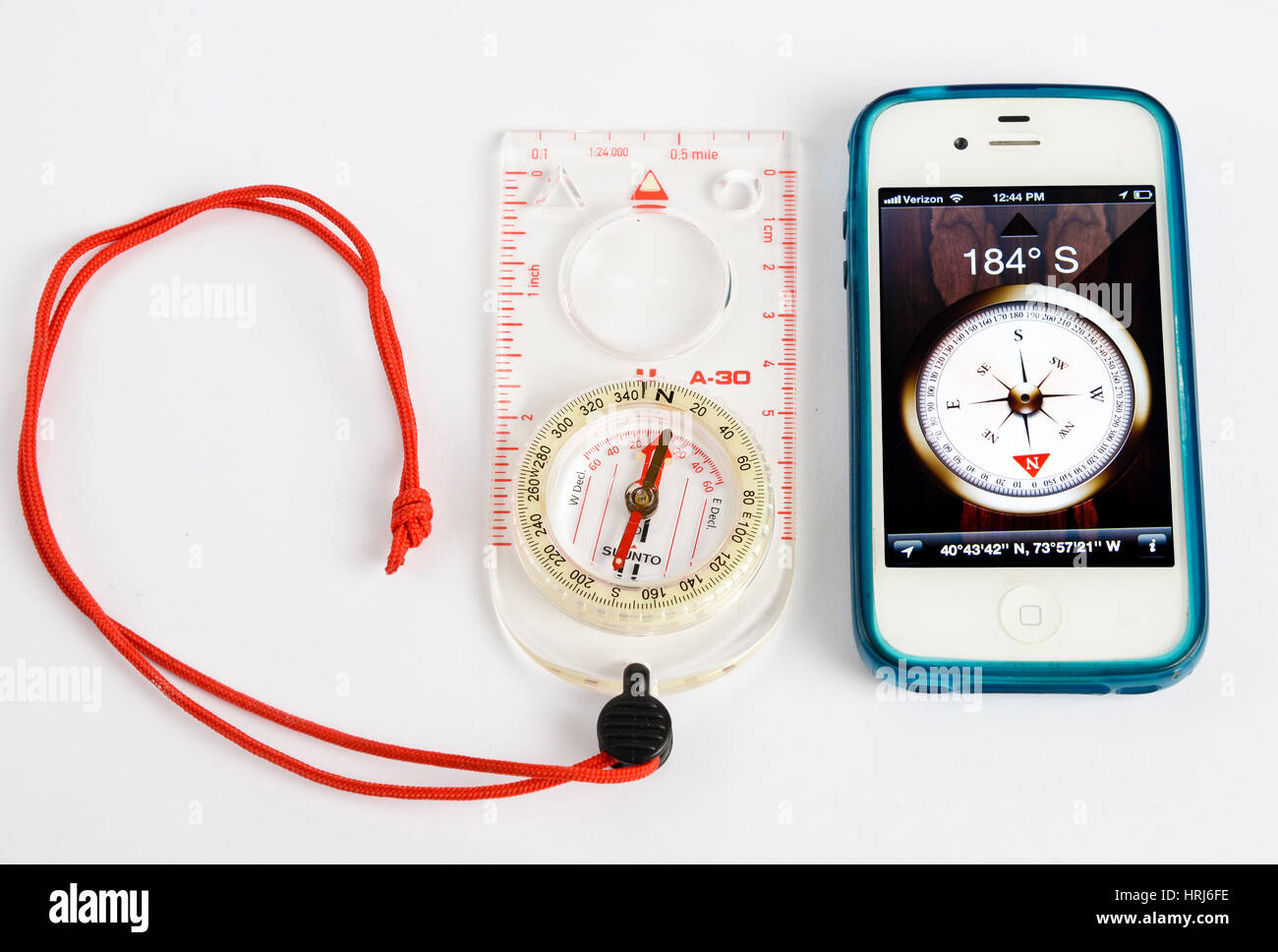 Electronic and Standard Magnetic Analogue Compass - Stock Image