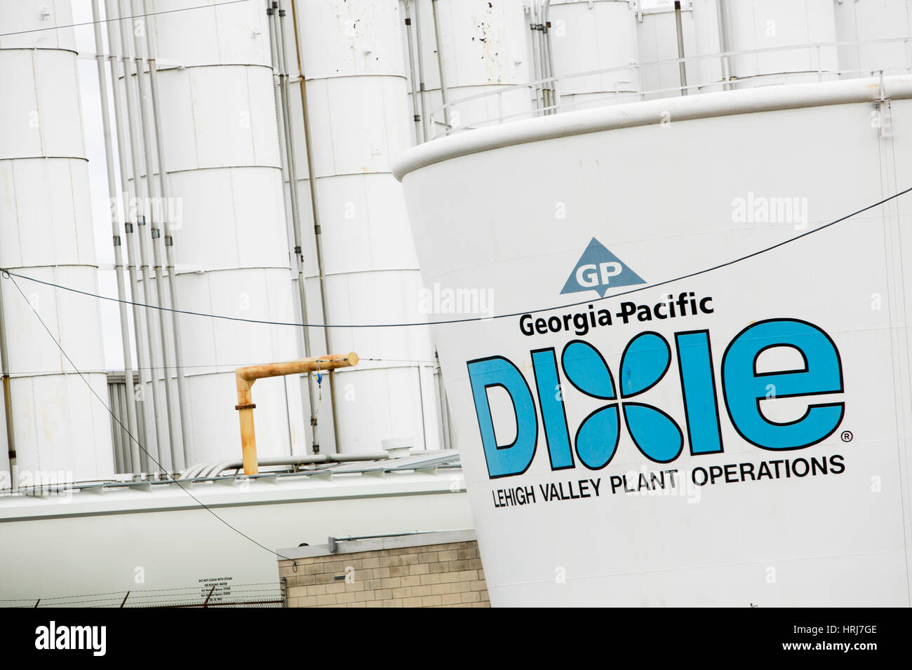 A logo sign outside of the Georgia-Pacific Dixie Cup factory